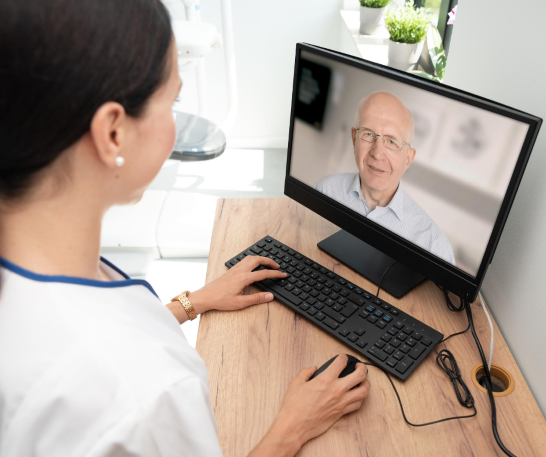 Woman with man on telehealth session